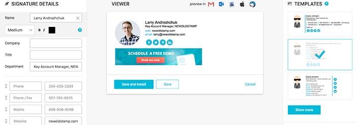 plntillas de firma de correo electrónico personalizables