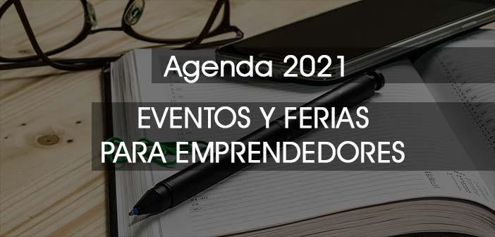 agenda y boli con rótulo eventos y ferias para emprendedores 2021